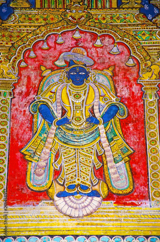 Colorful paintings on ceiling wall of Darbar Hall of the