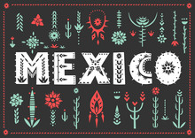 Trendy Poster Mexico With Lett...