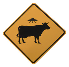 Cow Alien Abduction Road Sign, Isolated, Seen On The Historic Turquoise Trail Between Santa Fe And Albuquerque, New Mexico.