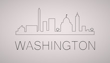 Washington Dc City Skyline Black And White Silhouette. Vector Illustration.  Cityscape With Landmarks.