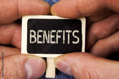 Photo Writing note showing  Benefits