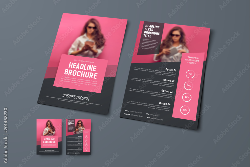 Fototapeta Design the front and back pages of the brochure with pink rectangular elements and a place for photos.