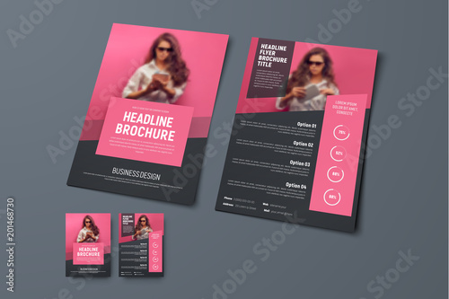 Fototapeta Design the front and back pages of the brochure with pink rectangular elements and a place for photos. obraz
