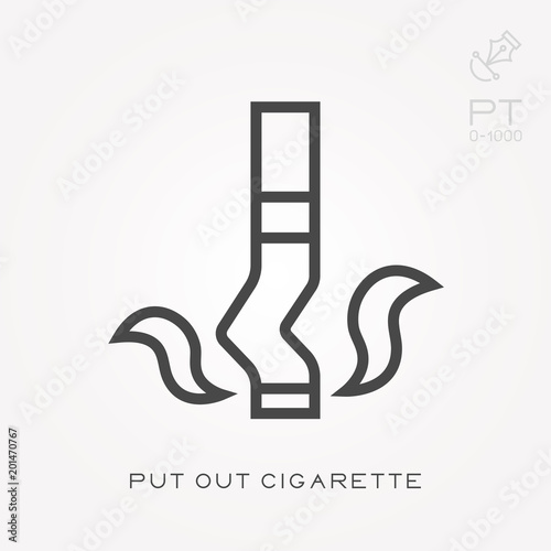 Line icon put out cigarette Fototapeta