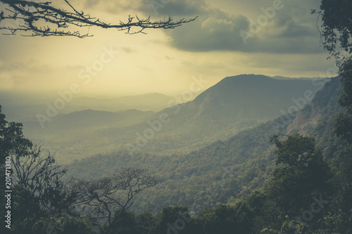 Mountainous terrain and cloudy sky Wallpaper Mural