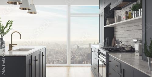 Fotografie, Obraz  Banner, cucina moderna, render 3d