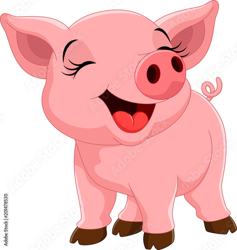 Vector illustration of cute pig cartoon isolated on white background Fotobehang