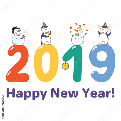 hand drawn happy new year 2019 greeting card banner template with cute funny cartoon penguins
