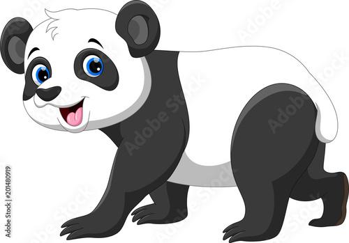 Fototapeta premium Śliczna panda kreskówka na białym tle