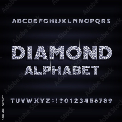 Photo Diamond crystal alphabet bold font