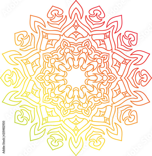Colorful round mandala with oriental ornament. Fototapeta