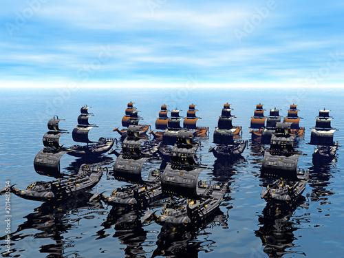 chinesische Flotte auf dem Meer Canvas Print