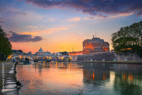 Fotobehang Rome Rome. Image of the Castle of Holy Angel and Holy Angel Bridge over the Tiber River in Rome at sunset.