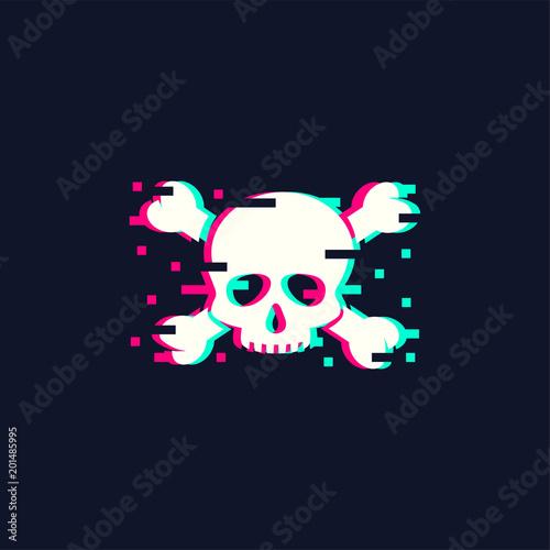 Fotografering  Skull illustration in trendy glitch style