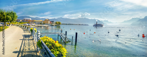 Promenade and view of Geneva Lake in Vevey town Wallpaper Mural