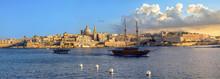 Panorama Of Valletta Waterfront At Sunset Sunlight. Malta