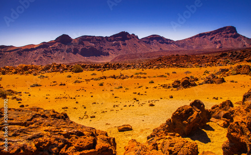 Spoed Foto op Canvas Bruin Volcano Teide and lava scenery in Teide National Park, Rocky volcanic landscape of the caldera of Teide national park in Tenerife, Canary Islands, Spain