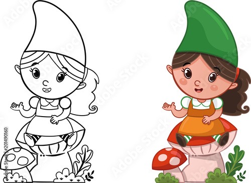 Cartoon Gnome Character For Coloring Page Activity Vector Illustration Buy This Stock Vector And Explore Similar Vectors At Adobe Stock Adobe Stock