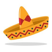 Sombrero Mexican Hat Vector Cartoon Flat Icon.
