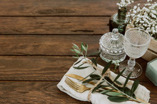 Flat Lay Gold Vintage Silverware, Linen Napkin, Olive Brunch Trendy Rustic Table Setting. Copy Space