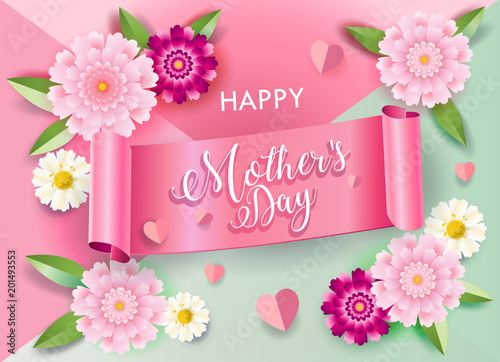 Mothers Day Greeting Card With Flowers Ribbon Banner Hearts Blossom Floral Background