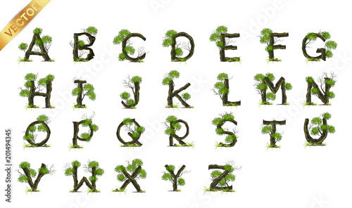 Plakat abecadło - alfabet collection-letter-a-b-c-vector-alphabet-with-tree-abc-concept-type-as-logo-eco-concept