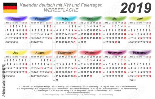 kalender 2019 bunte wasserfarben quer deutsch mit. Black Bedroom Furniture Sets. Home Design Ideas