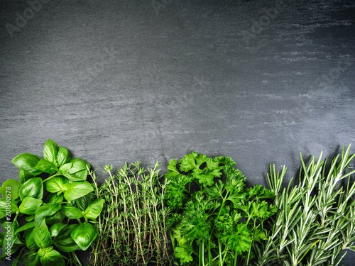 Herbs on slate background