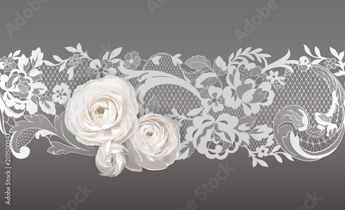 Fotografia, Obraz  lace ribbon. flowers