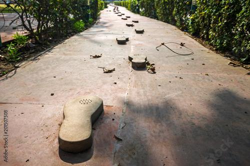 Canvas Print Gandhi memorial steps and stone