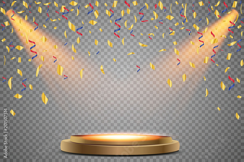 Fotografiet Stand of the podium with lighting, Scene from the award ceremony on a transparent background, with falling confetti