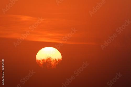 In de dag Ochtendgloren Sonnenaufgang im Frühling (Lewitz nahe Schwerin, Deutschland)