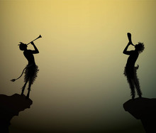 Two Fauns Playing Trumpet At T...