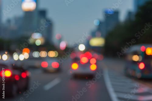 Foto op Aluminium Nacht snelweg blur image of traffic jam before night