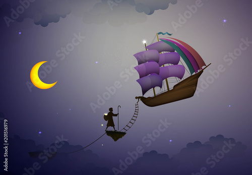 Fotografie, Obraz  star keeper, magic ship in the dreamland, the moon, scene from wonderland,