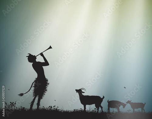 Cuadros en Lienzo faun shepherd herds the goats in the morning sun rays, satyr,