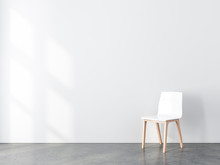 Blank Wall Mockup With White Chair In Empty Room, 3d Rendering