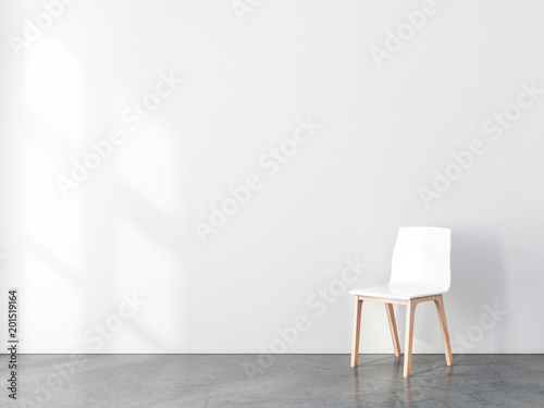 Obraz na płótnie Blank wall mockup with White chair in empty room, 3d rendering