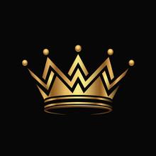Golden Crown Logo Abstract Design Vector.