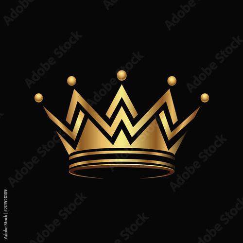 Golden crown Logo abstract design vector. Canvas Print