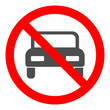 NO CARS ALLOWED sign. Vector icon.