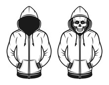 Hoodie With Blank Face And Wit...