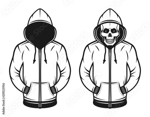 Fotografía  Hoodie with blank face and with skull objects