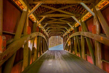 Indoor View Of Details Of Red Covered Bridge Inside Of The Forest In Lancaster
