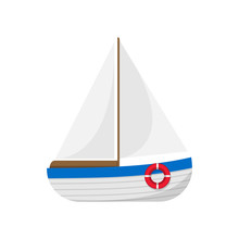 Sail Boat Isolated On White Background. Vector Illustration.
