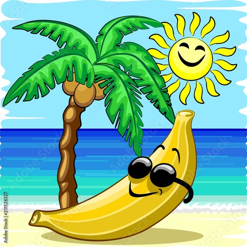 Deurstickers Draw Banana Chill Happy Summer Cartoon Character