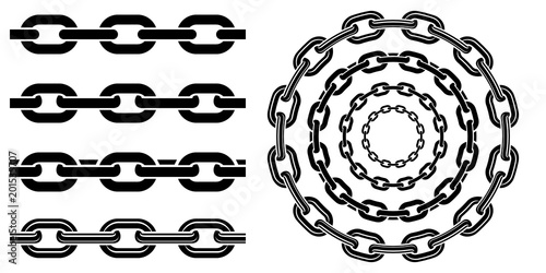 Monochrome set different type of metal chains in silhouette style Canvas Print