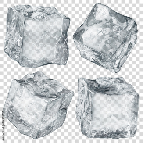Set of four realistic translucent ice cubes in gray color isolated on transparent background. Transparency only in vector format Wall mural