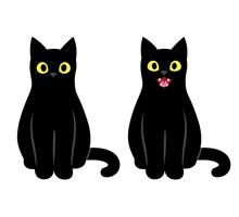 Black Cat Sitting Illustration