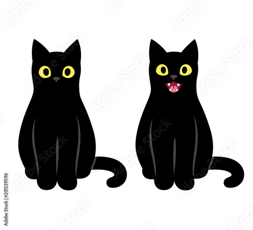 Fotomural Black cat sitting illustration